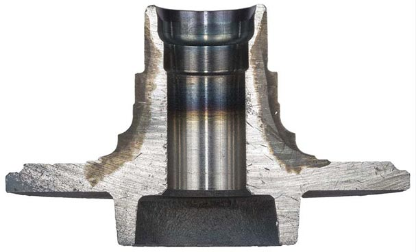 Cut away image of heat treated automotive wheel spindle